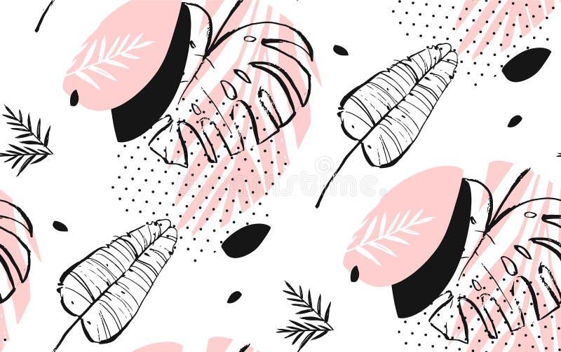 Entregue a sumário tirado do vetor folhas de palmeira tropicais textured a mão livre artísticas teste padrão sem emenda nas cores ilustração royalty free