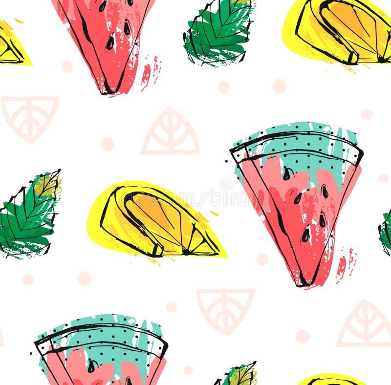Entregue a sumário tirado do vetor frutos engraçados bonitos das horas de verão teste padrão sem emenda com melancia, limão, folh ilustração royalty free