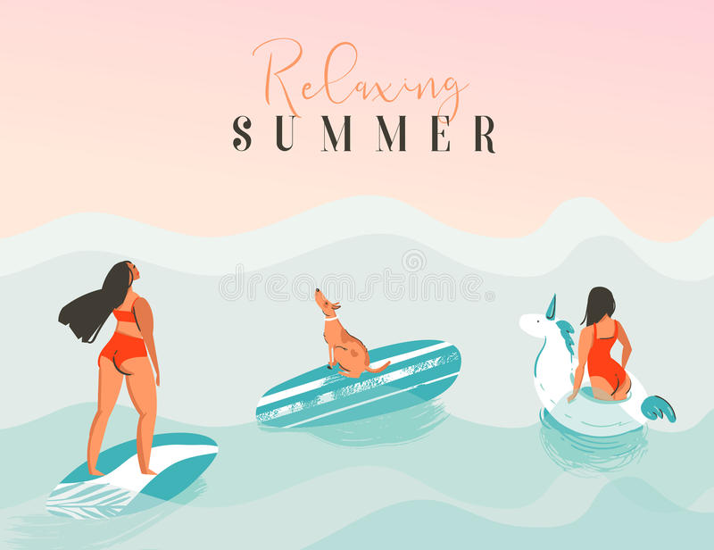 Entregue a sumário tirado do vetor horas de verão exóticas ilustração engraçada com meninas do surfista, flutuador do unicórnio,  ilustração royalty free