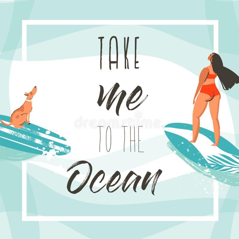 Entregue a sumário tirado do vetor horas de verão exóticas molde engraçado do cartão do cartaz com meninas, prancha e cão do surf ilustração do vetor