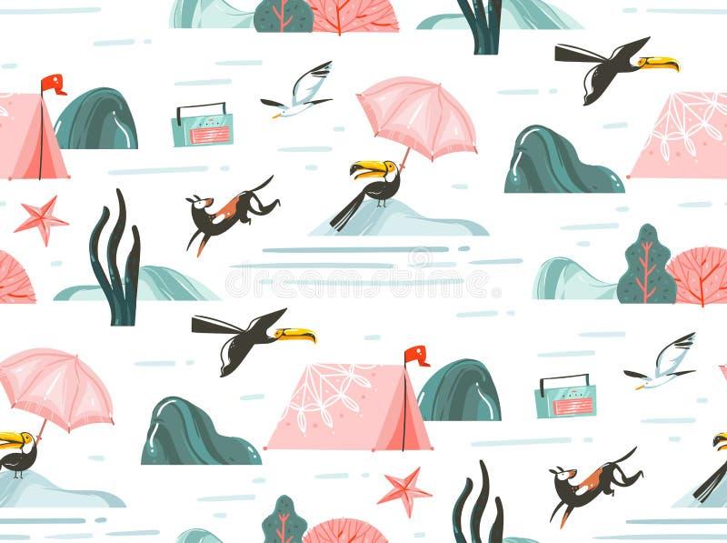 Entregue a sumário tirado do vetor horas de verão gráficas dos desenhos animados ilustrações lisas teste padrão sem emenda com ba ilustração do vetor