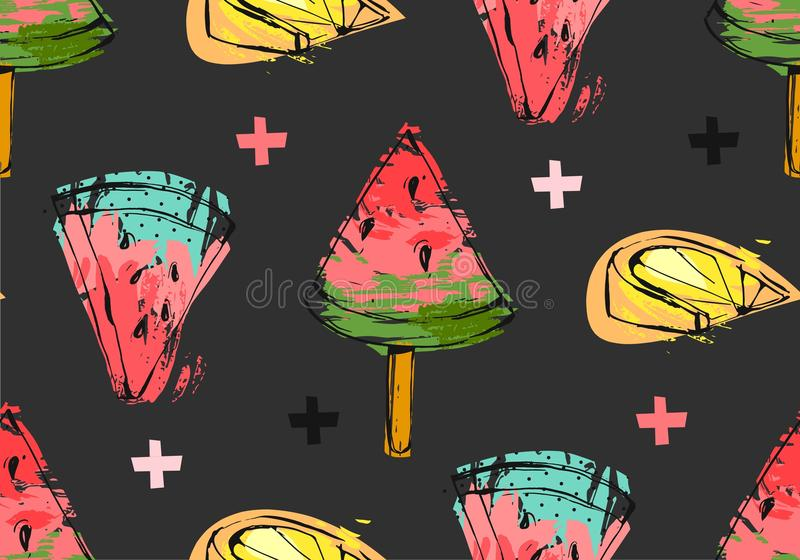Entregue a sumário tirado do vetor horas de verão incomuns teste padrão sem emenda com fatia, gelado, limão e cruzes da melancia ilustração royalty free