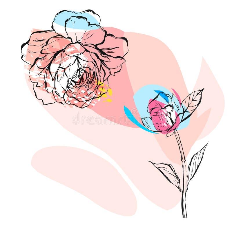 Entregue a sumário tirado do vetor a ilustração incomum criativa com a flor gráfica da peônia nas cores pastel desenho feito à mã ilustração do vetor