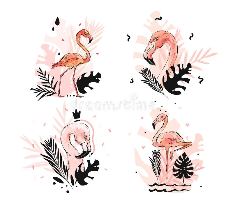 Entregue a sumário tirado do vetor o flamingo textured a mão livre gráfico do rosa do esboço e as folhas de palmeira tropicais qu ilustração stock
