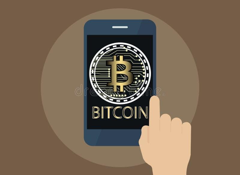 Entregue a tabuleta do uso com o Bitcoin em linha e o ícone na tela, Digital ilustração royalty free