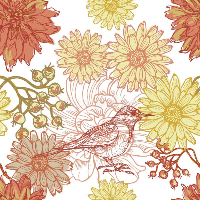 Entregue a tema botânico tirado o teste padrão sem emenda com pássaro ilustração stock
