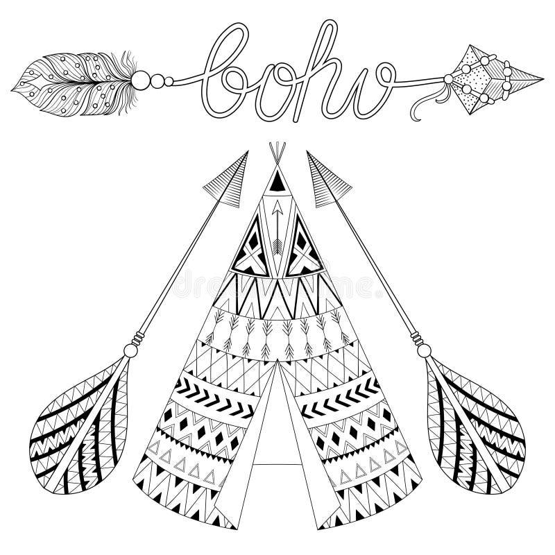 Entregue a tenda nativa americana tirada com elemento decorativo étnico ilustração do vetor