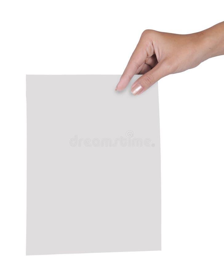 Entregue a terra arrendada o papel em branco 2 imagem de stock royalty free