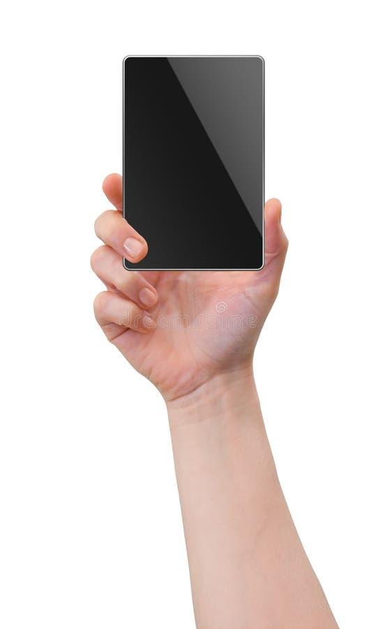 Entregue a terra arrendada o telefone móvel, PC da tabuleta, dispositivo da palma imagem de stock