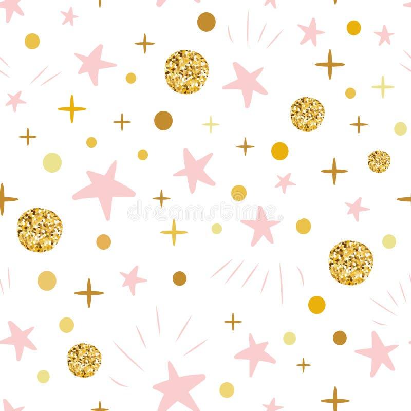 Entregue teste padrão sem emenda a bolas decoreted tiradas do ouro estrelas cor-de-rosa para o backgound ou a festa do bebê do Na ilustração stock