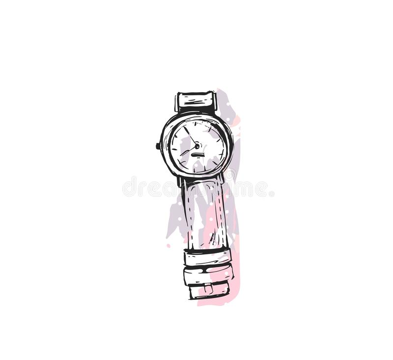 Entregue a textura tirada do sumário do vetor a forma gráfica ícone chique do estilo com o relógio de pulso dos acessórios da men ilustração stock