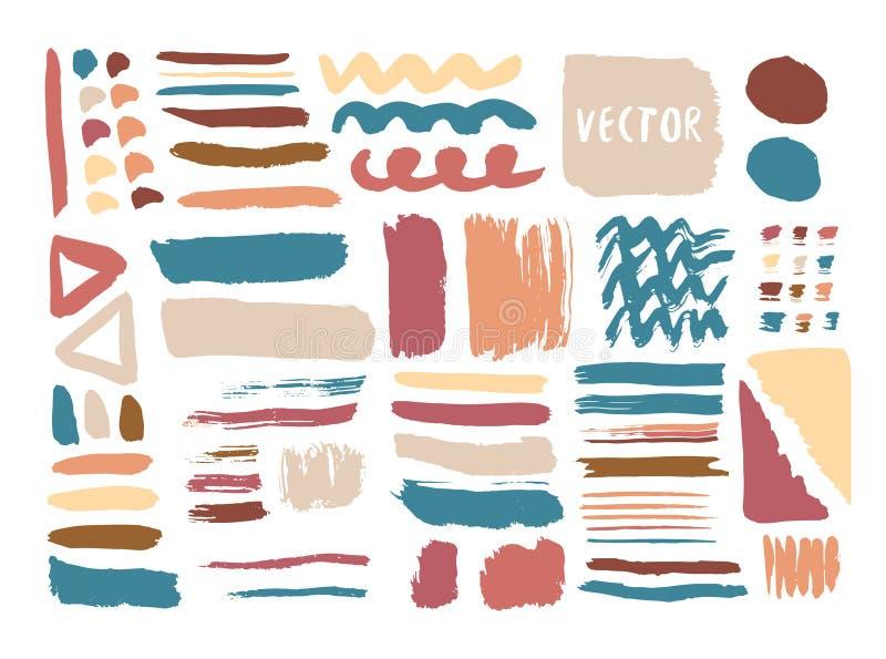Entregue texturas tiradas e escovas com a tinta colorida Elementos do vetor Coleção isolada da forma ilustração royalty free