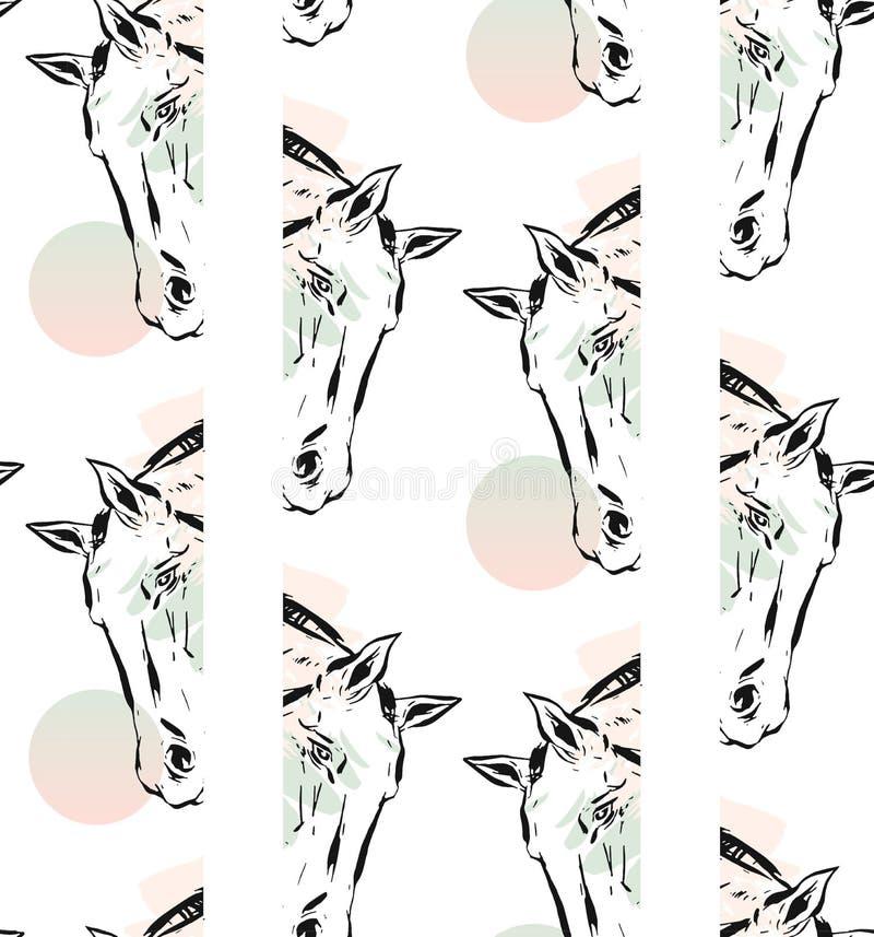 Entregue a tinta abstrata alinhada vetor tirada a cabeça de cavalos gráfica teste padrão sem emenda isolado no fundo branco Estil ilustração stock