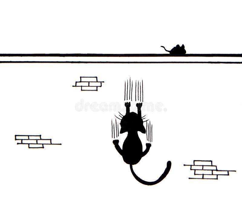 Entregue tirado do gato preto que risca a parede e um rato na parede ilustração royalty free