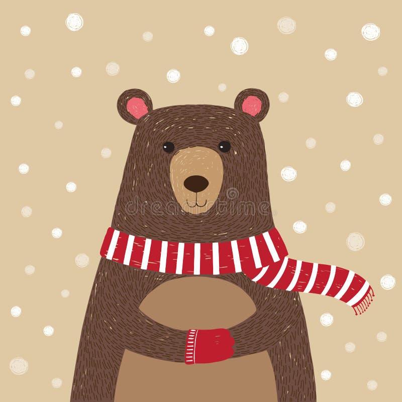Entregue tirado do urso bonito que veste o lenço vermelho ilustração do vetor