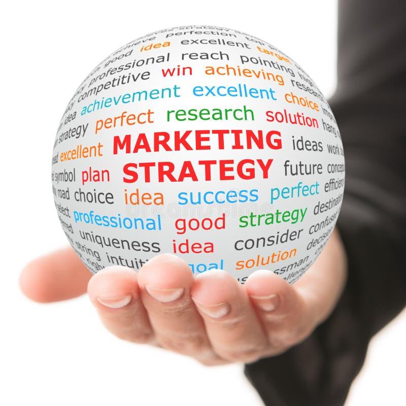 Entregue tomam a bola branca com estratégia de marketing vermelha da inscrição fotografia de stock