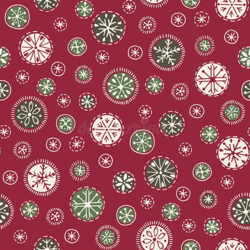 Entregue a vetor abstrato tirado dos flocos de neve do White Christmas o fundo sem emenda do teste padrão Nordic do feriado de in ilustração royalty free