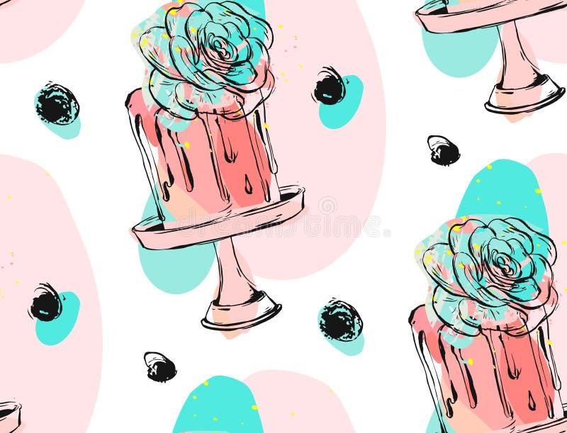Entregue a vetor tirado o aniversário bonito ou o casamento teste padrão sem emenda com ilustração do bolo com pontos da tinta e  ilustração do vetor