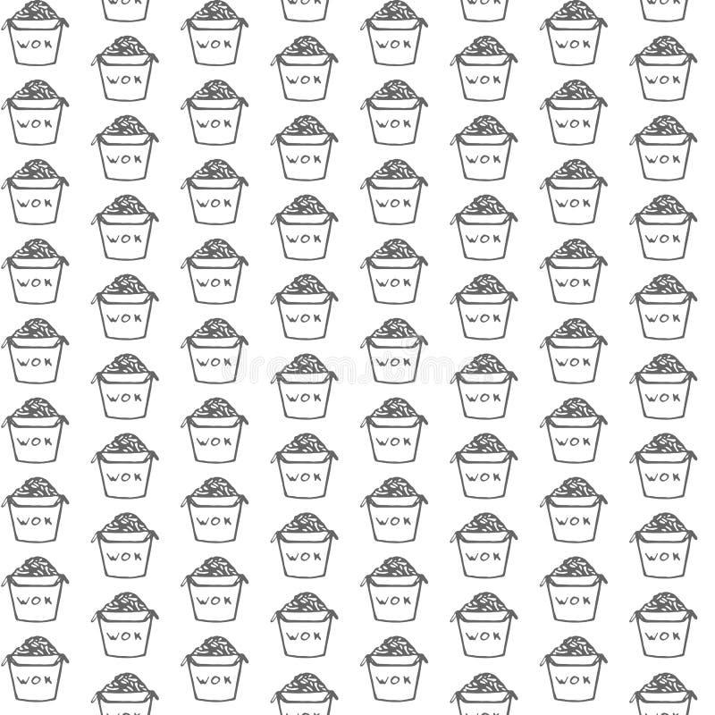 Entregue a vetor tirado o teste padrão sem emenda com fast food asiático no fundo branco ilustração do vetor