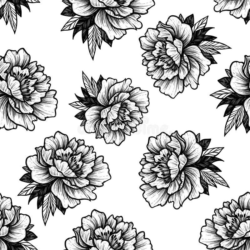 Entregue a vetor tirado o teste padrão sem emenda - flores da peônia Tatto floral ilustração stock