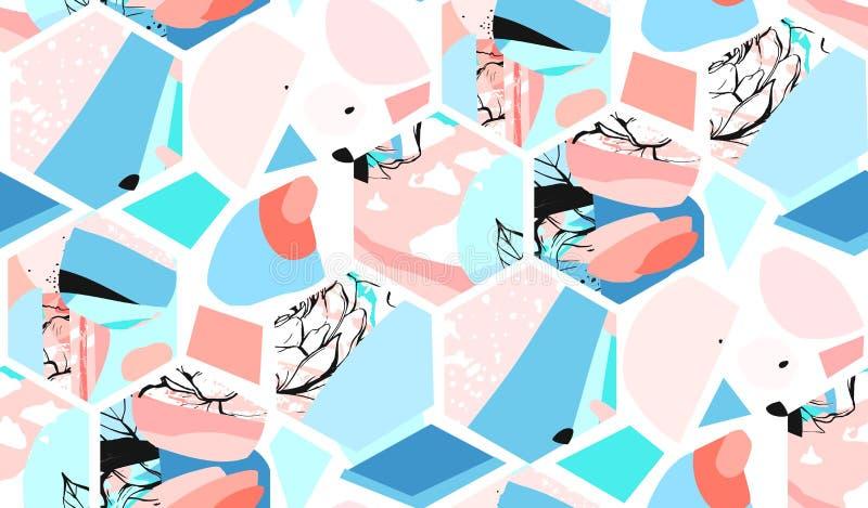 Entregue a vetor tirado universal artístico o teste padrão sem emenda abstrato textured com as formas, as texturas e a natureza d ilustração royalty free