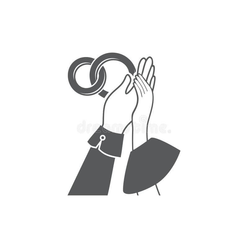 Entrelacement d'image de vecteur des mains et des anneaux de mariage illustration stock