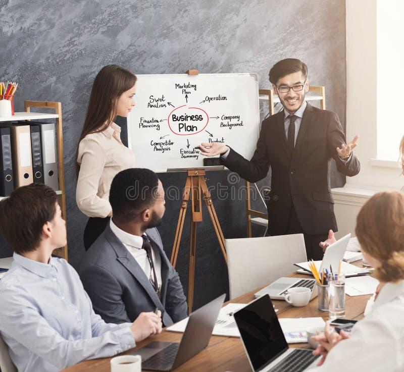 Entrenador que explica el plan empresarial para el equipo de los jóvenes imagenes de archivo