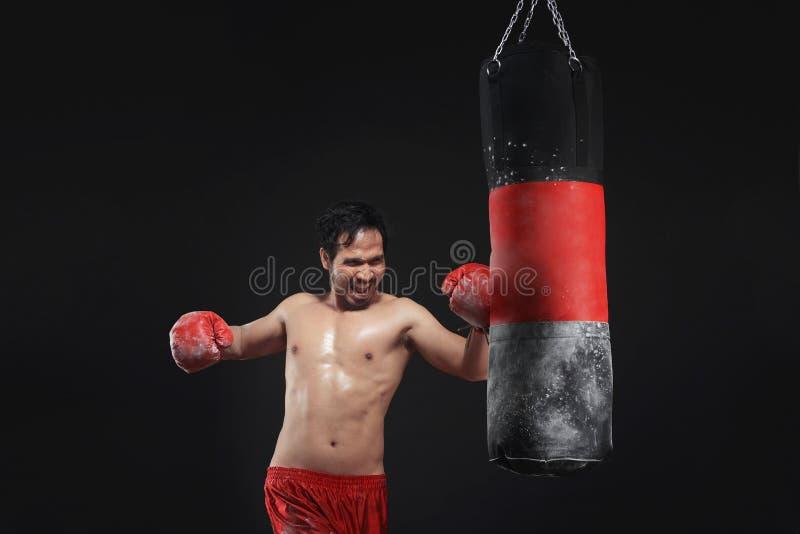 Entrenamiento asiático muscular del boxeador del hombre con el saco de arena foto de archivo libre de regalías