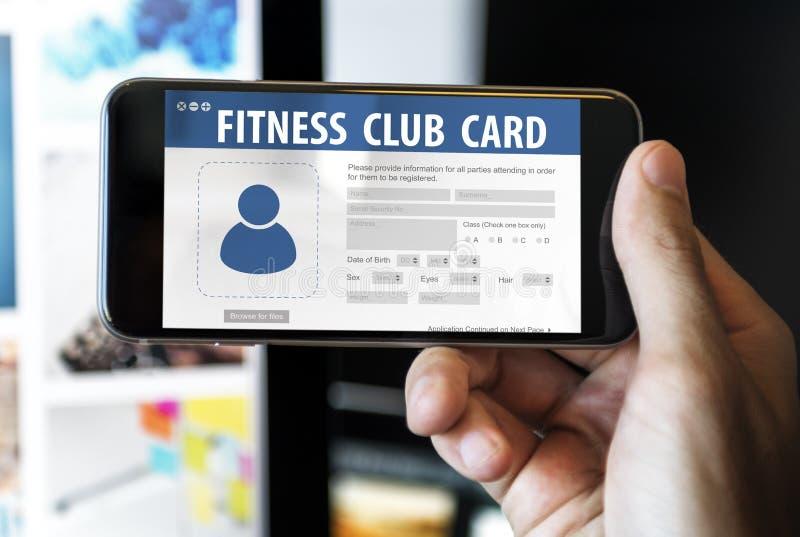 Entrenamiento Concep de la información de datos de identificación de la tarjeta del club de fitness imagen de archivo libre de regalías