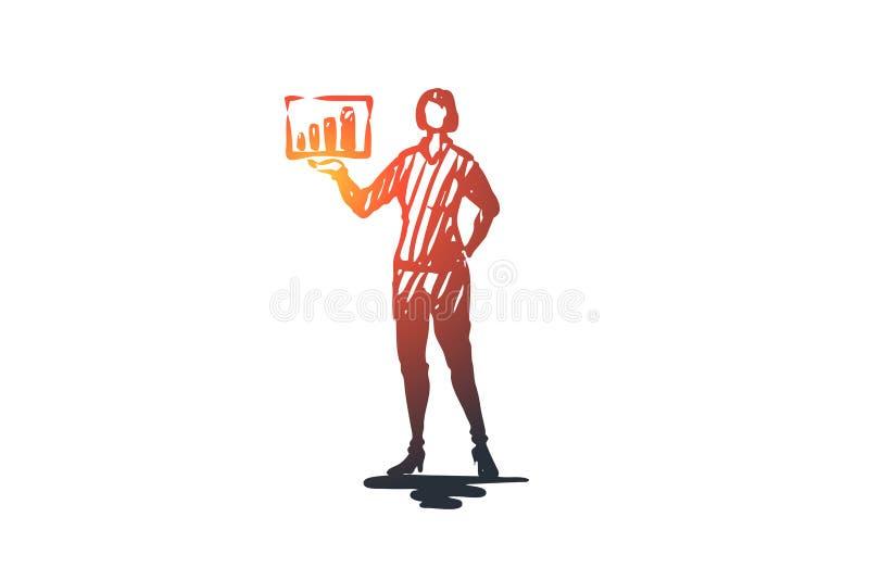 Entrenamiento, conferenciante, presentación, tablero, concepto de la educación Vector aislado dibujado mano ilustración del vector