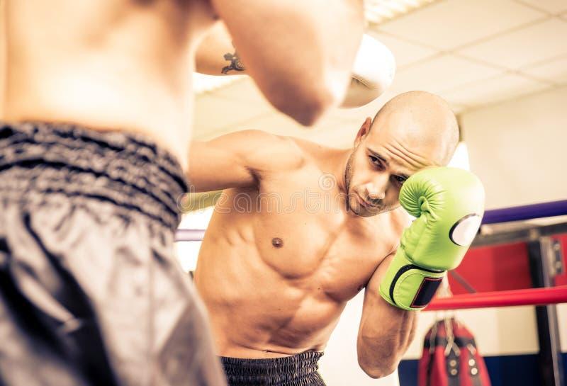 Entrenamiento de dos boxeadores fotos de archivo