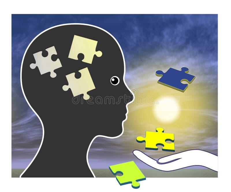 Entrenamiento de la memoria después de la amnesia stock de ilustración