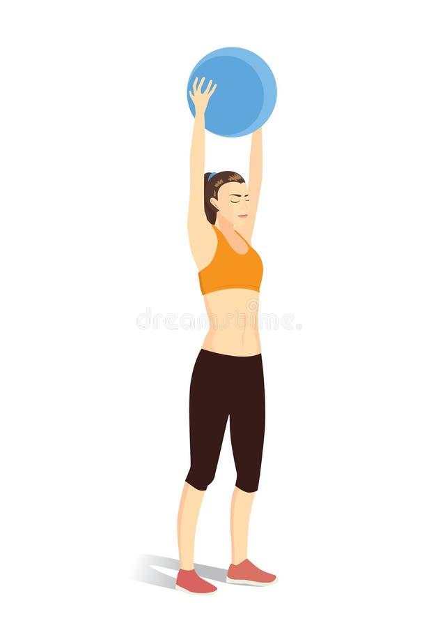 Entrenamiento de la mujer con la bola de la aptitud libre illustration