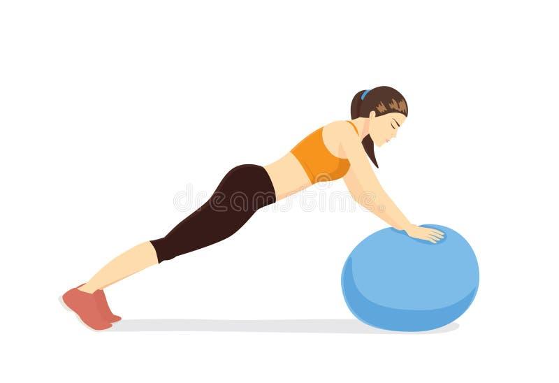 Entrenamiento de la mujer con la bola de la aptitud en postura de la extensión del tríceps de la bola libre illustration