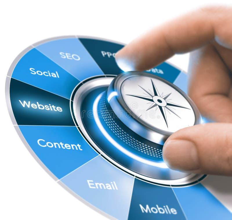 Entrenamiento de las estrategias de la comunicación de Digitaces, comercializando 360 grados stock de ilustración