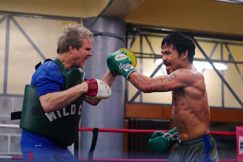 Entrenamiento de Manny Pacquiao foto de archivo libre de regalías