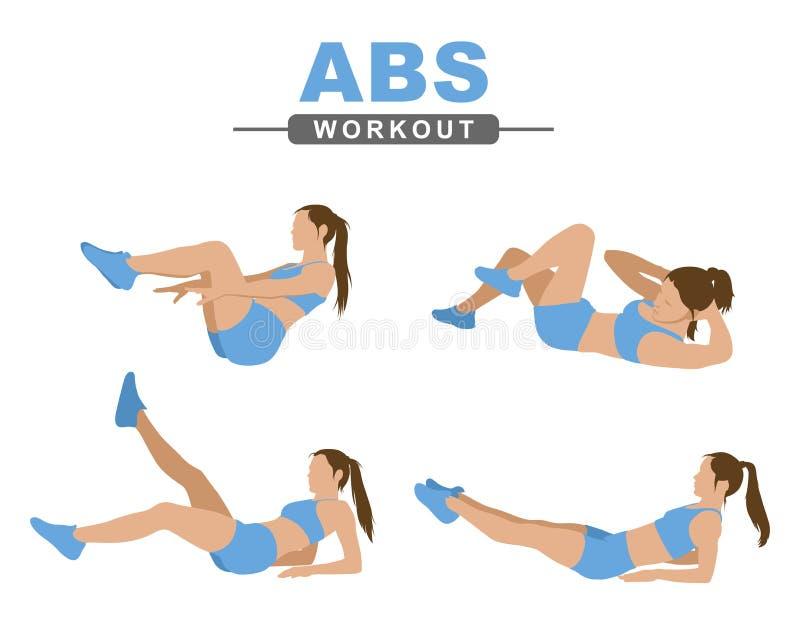 Entrenamiento del ABS Una mujer joven realiza un ejercicio del ABS Aptitud, forma de vida activa Aislado en un fondo blanco libre illustration