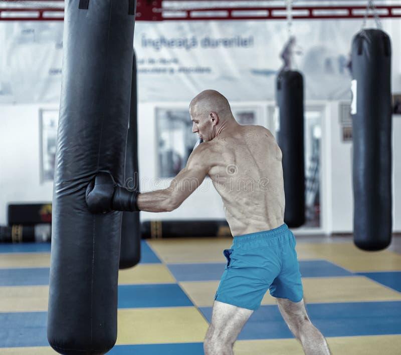 Entrenamiento del combatiente de Kickbox con el bolso de sacador fotografía de archivo libre de regalías