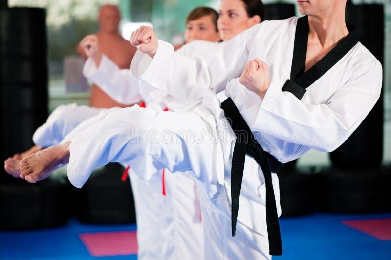 Entrenamiento del deporte de los artes marciales en gimnasia fotos de archivo libres de regalías