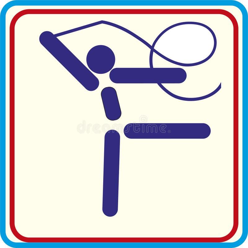 Entrenamiento del gimnasta del deporte, icono, ejemplos stock de ilustración