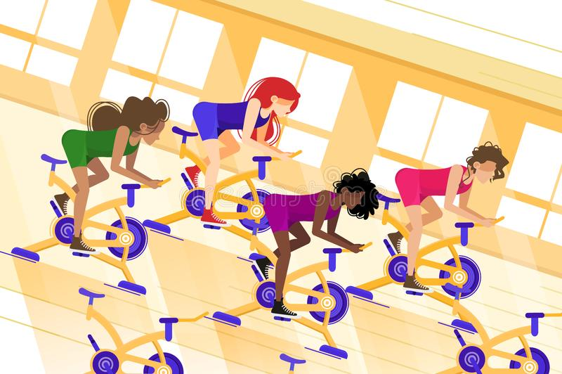 Entrenamiento del grupo en la bici inmóvil ilustración del vector