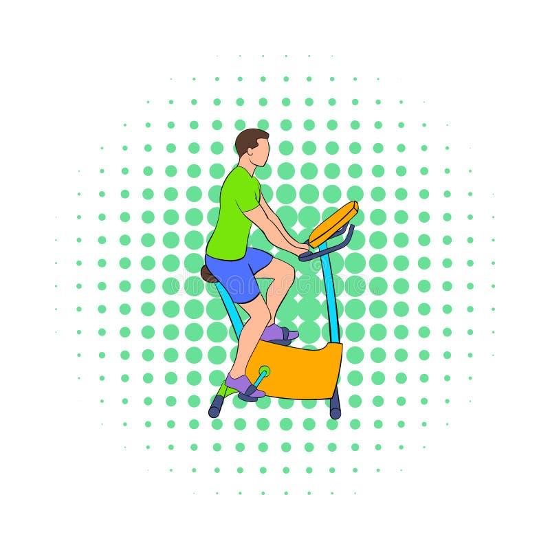 Entrenamiento del hombre en un icono inmóvil de la bici libre illustration