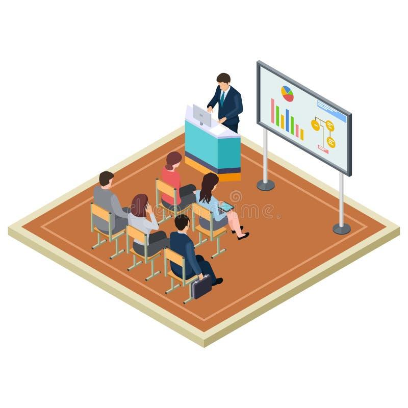 Entrenamiento del negocio o concepto isométrico del vector de la presentación libre illustration