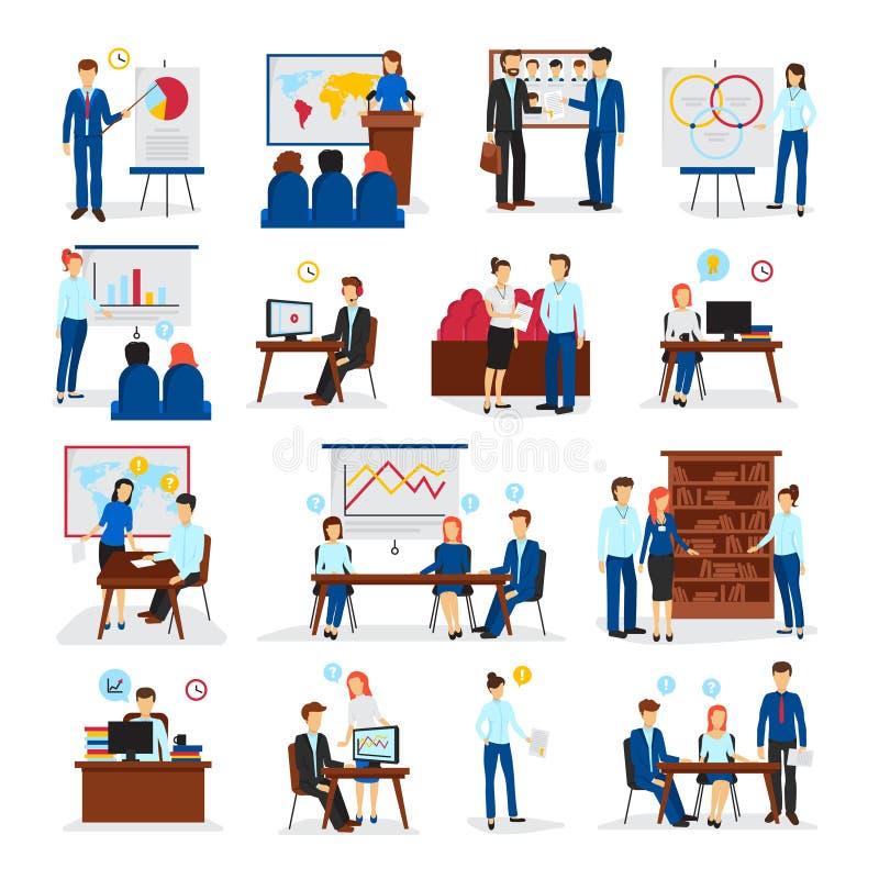 Entrenamiento del negocio que consulta los iconos planos fijados libre illustration
