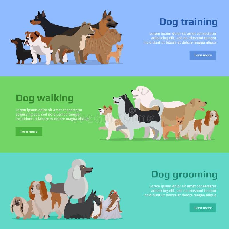 Entrenamiento del perro, caminando, banderas de la preparación fijadas libre illustration