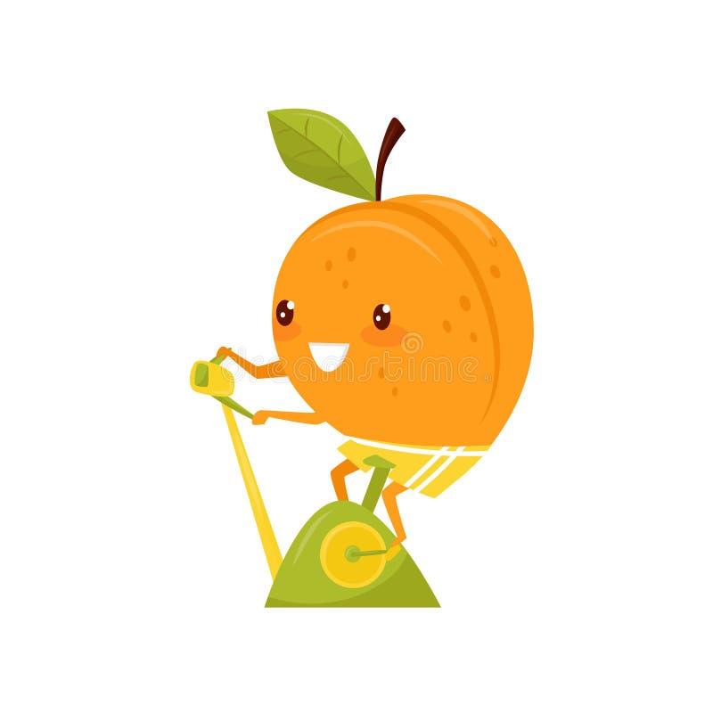 Entrenamiento divertido en una bicicleta estática, personaje de dibujos animados juguetón del melocotón de la fruta que hace el e ilustración del vector
