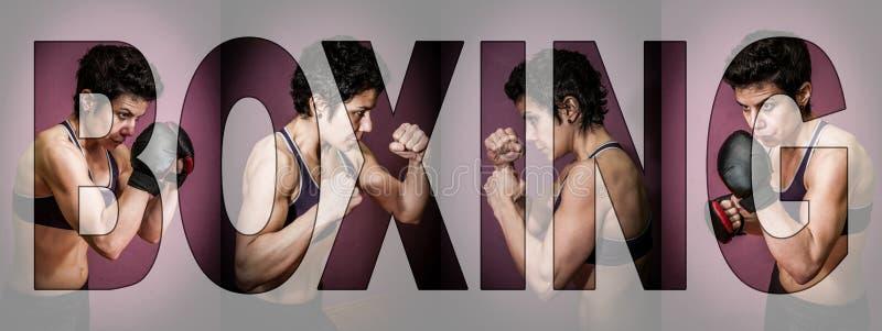 Entrenamiento femenino del boxeador en un gimnasio Letras QUE ENCAJONAN sobre el collage imagen de archivo libre de regalías