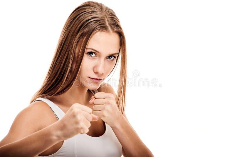 Entrenamiento femenino del boxeador imagenes de archivo