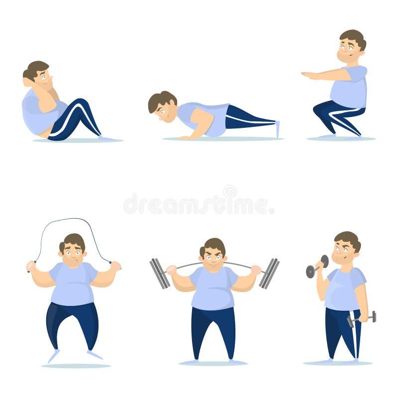 Entrenamiento gordo del hombre stock de ilustración