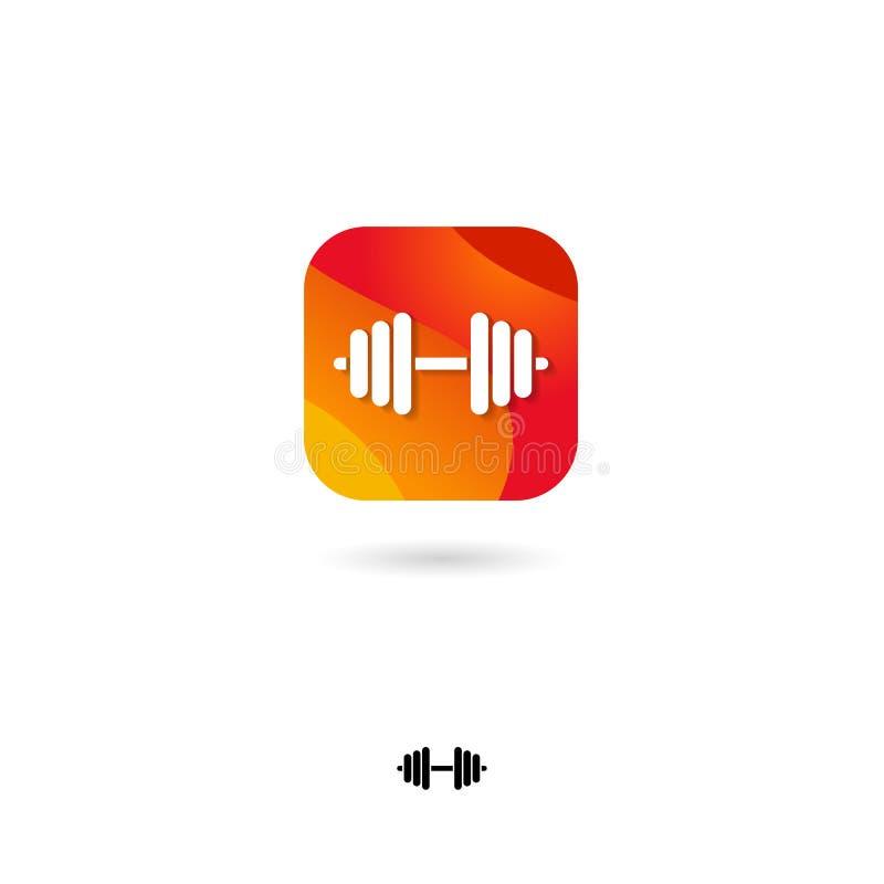 Entrenamiento, icono de las pesas de gimnasia UI Botón del web Deportes, levantamiento de pesas de la aptitud Cuadrado redondeado stock de ilustración